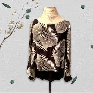 Printed Capelet Overlay Black & White Blouse - XL